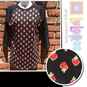 LULAROE Randy Strawberry Black T-Shirt Size XS